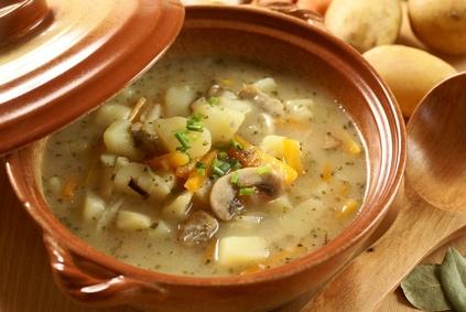 Žampionová polévka s brambory