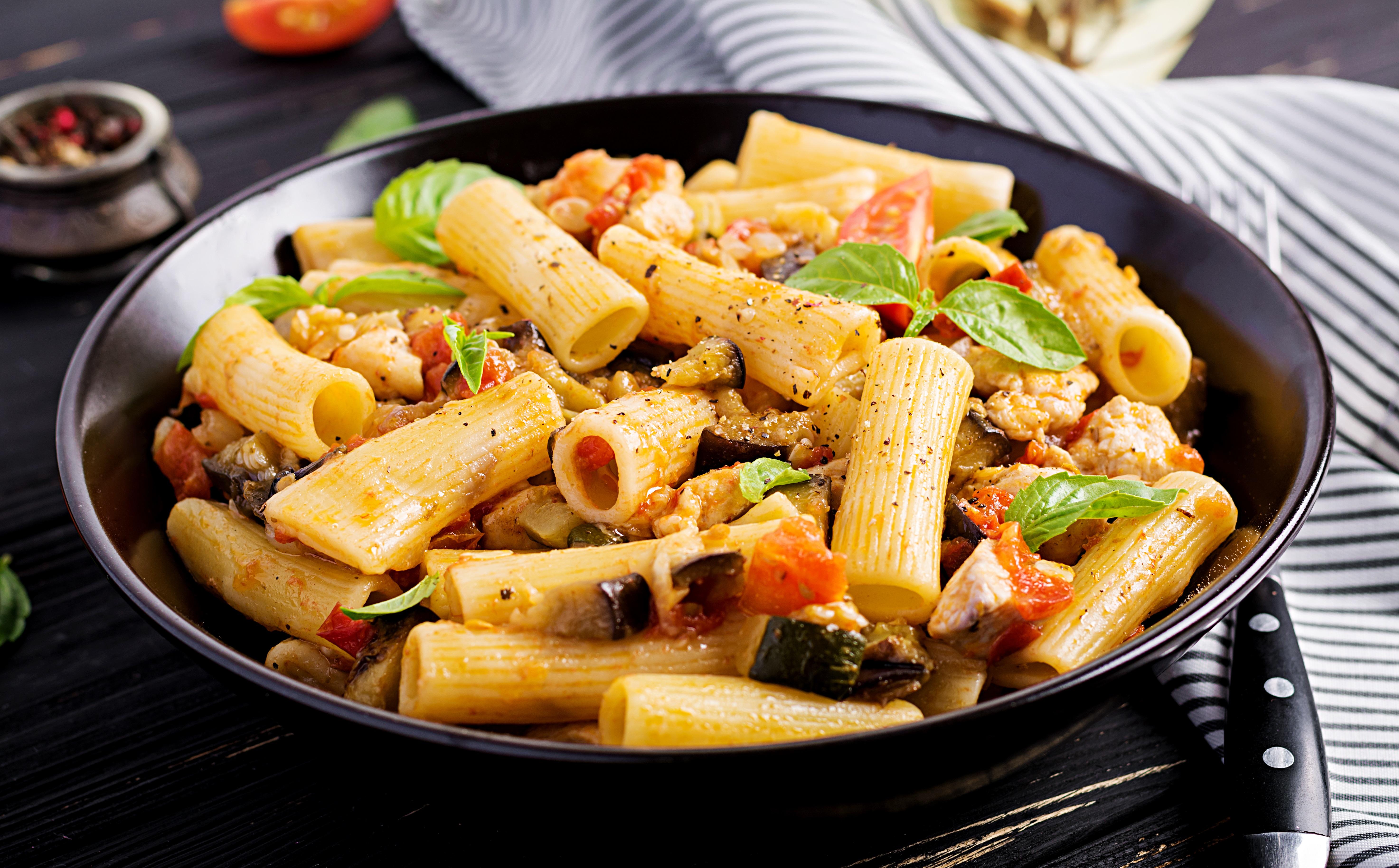 Těstoviny s pečenou zeleninou