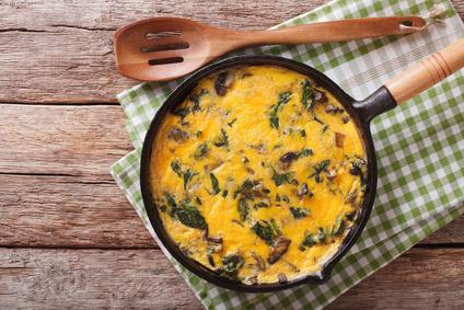Vaječná omeleta se žampiony a špenátem